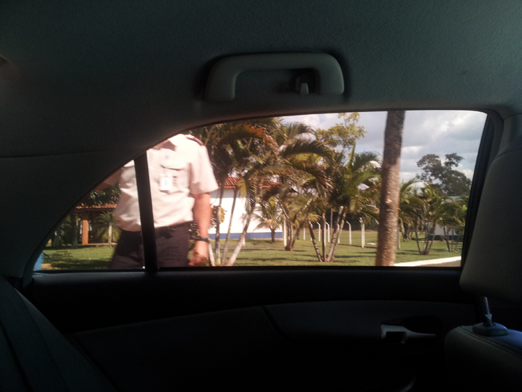 Through a car window.